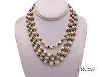 8-10mm white and purple round freshwater pearl and crystal chips opera necklace