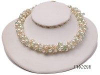 8-10mm white and light yellow round freshwater pearl and crystal chips necklace