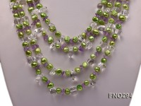 8-10mm green flat freshwater pearl and crystal chips opera necklace
