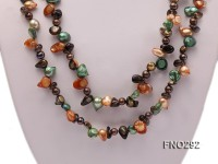 5-20mm multicolor biwa-shaped pearl and smoky crystal necklace