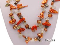 5x20mm multicolor biwa-shaped pearl and crystal necklace