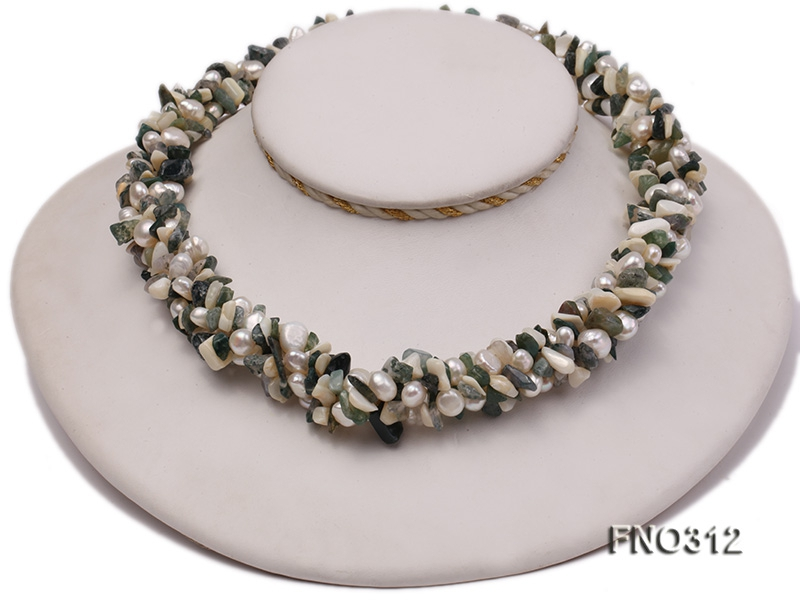 8-9mm multicolor flat freshwater pearl and broken shell necklace
