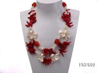 Two-row White Cultured Freshwater Pearl Necklace Decorated with Corals and Shell Pieces
