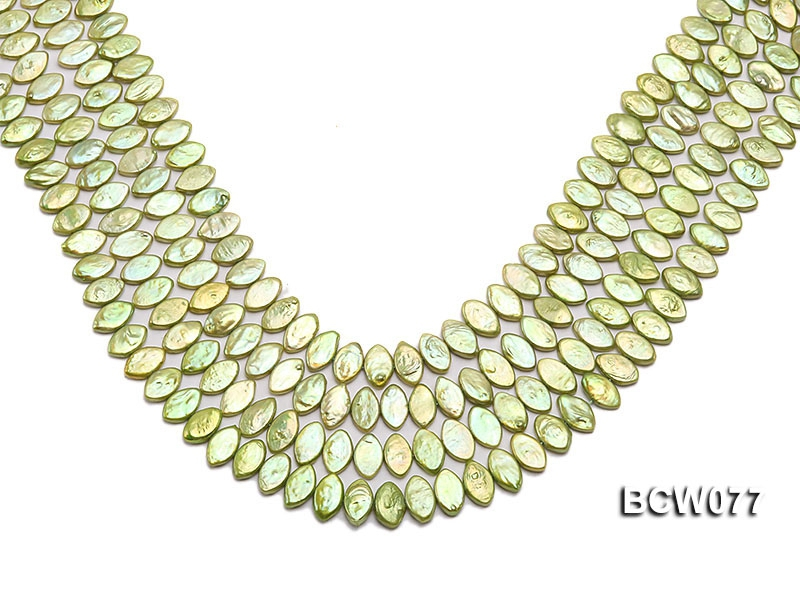 Wholesale 8x13mm Green Button-shaped Freshwater Pearl String