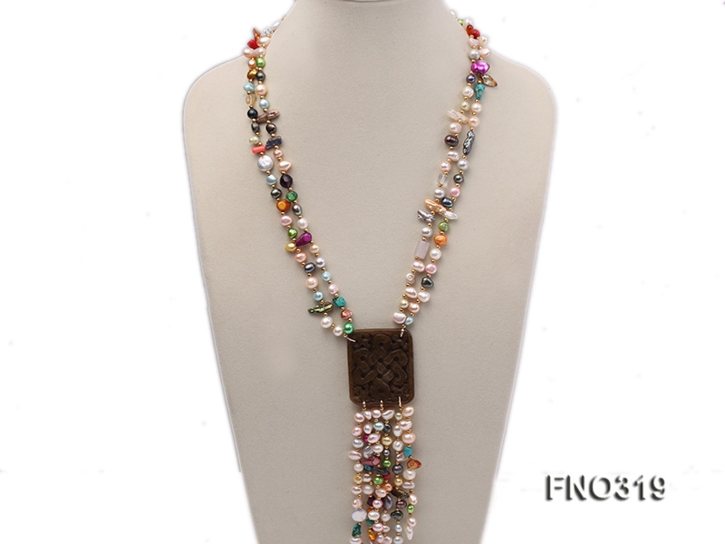 7-9mm multicorlor flat FW pearl two-strand necklace
