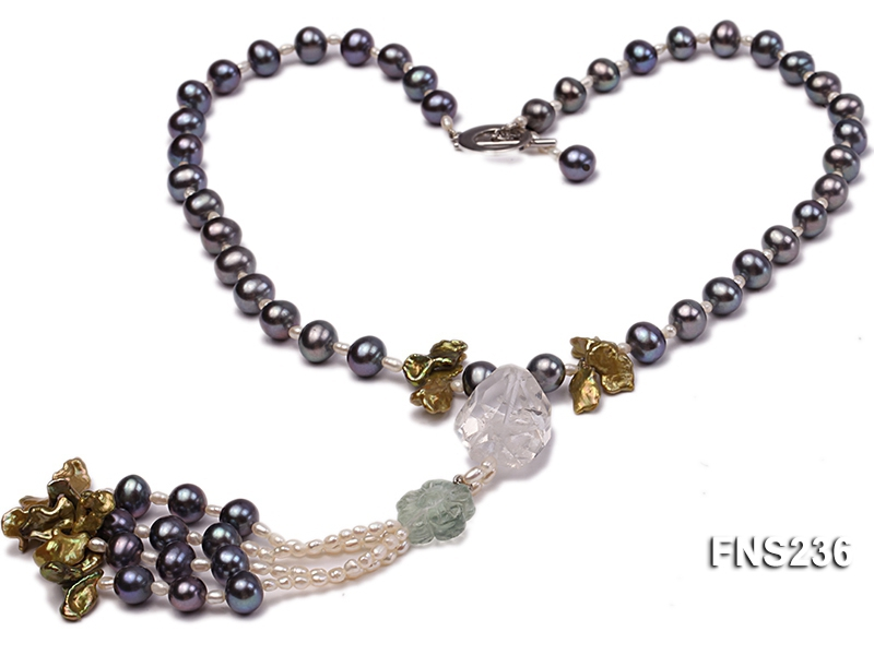 7-8mm grey round freshwater pearl with crystal and white rice pearl single strand necklace