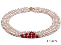 3 strand white freshwater pearl and red coral necklace