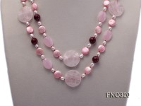 12mm pink coin FW pearl and white oval freshwater pearl and pink carved and crystal necklace