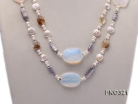 12x15mm white round freshwater pearl and grey irregular pearl and moonstone necklace