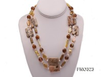 8.5x19mm  tiger iron jasper and white round freshwater pearl and red stone necklace