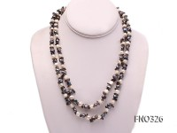 7-8mm white and green peacock baroque freshwater pearl and stone necklce