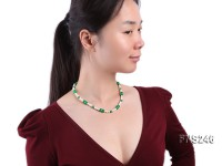 5-6mm natural white round freshwater pearl with Malay jade beads necklace