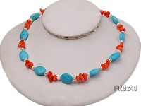 Natural white freshwater pearl with oval carved blue turquoise and orange coral necklace