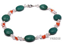 natural white freshwater pearl with natural white crystal and green turquoise orange coral necklace