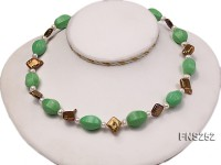 Natural white freshwater pearl with green turquoise and irregular pealrs necklace