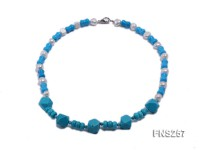 blue tiger shape turquoise with natural white freshwater pearl necklace