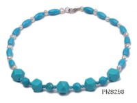 8*15mm rice blue turquoise with natural white freshwater pearl necklace