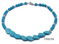 8mm blue round turquoise with natural white freshwater pearl necklace