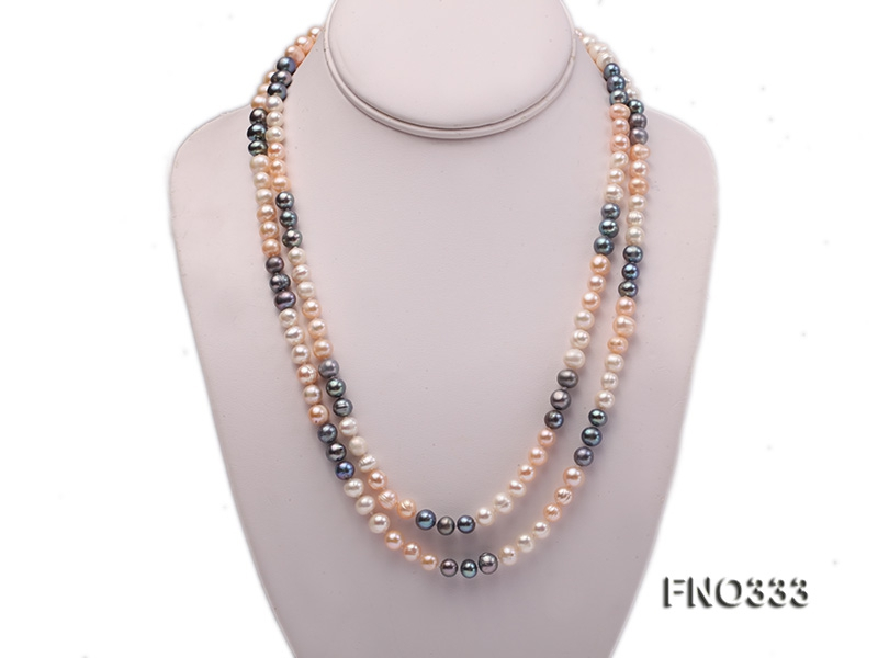 8-9mm multicolor round freshwater pearl necklace