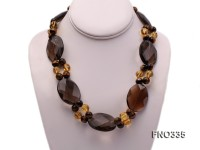 10mm yellow round crystal and tigereye and smoky crystal opera necklace