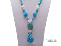 5x10mm green and blue turquoise and white  pearl and shell necklace