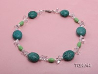 25x30mm green egg-shaped turquoise, white pearl and crystal necklace