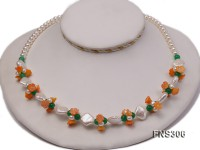 natural 7-8mm white round freshwater pearl with jade beads and coral flower necklace