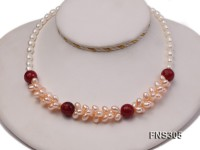 natural 7-8mm pink freshwater pearl with red faceted gemstone necklace