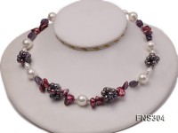 multicolor freshwater pearl with natural amethyst single strand necklace