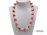 natural white baroque freshwater pearl with black agate red coral flower necklace
