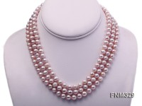 3 Strands 7-8mm Lavender Round Freshwater Pearl Necklace