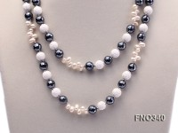 12mm white oval  freshwater pearl and smoky quartz and tridacnidae shell necklace