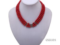 7mm Round Red Coral Three-Strand Necklace