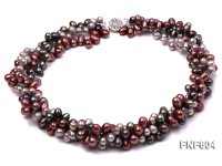 Three-strand 6x9mm Multi-color Freshwater Pearl Necklace