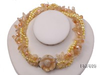 Five-strand 6-7mm Yellow Freshwater Pearl and Yellow Quartz Beads Necklace