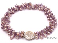 Three-strand 8x11mm Lavender Side-drilled Freshwater Pearl and Purple Quartz beads Necklace