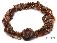 Multi-strand 6-7mm Coffee Freshwater Pearl,Tiger-eye,and Cherry Quartz Necklace