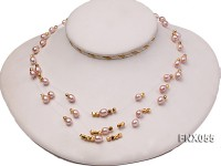 Three-strand 6x8mm Oval Lavender Cultured Freshwater Pearl Necklace