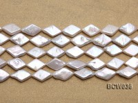 Wholesale 11x21mm White Rhombic Freshwater Pearl String