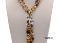 5x9mm yellow rice shape freshwater pearl  and yellow irregular crystal smoky crystal necklace