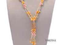 7x10mm pink and yellow oval freshwater pearl and yellow crystal  and jadestone necklace