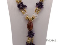 7x10mm yellow flat freshwater pearl and amethyst and crystal chips necklace