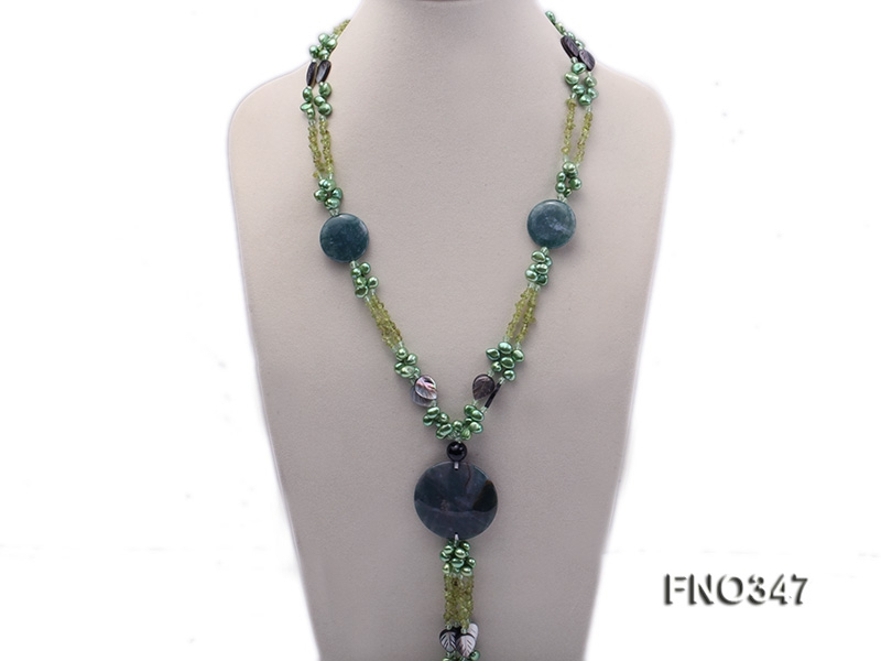 7x10mm coffee flat freshwater pearl and olivine  and shell and agate necklace