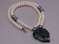 6-7mm natural white round freshwater pearl with breciated jasper stone single strand necklace
