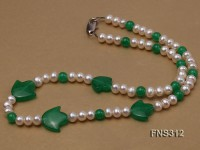 6mm natural white freshwater pearl with natural jade single strand necklace
