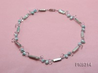 sky blue biwa-shaped freshwater pearl with natural white crystal single strand necklace