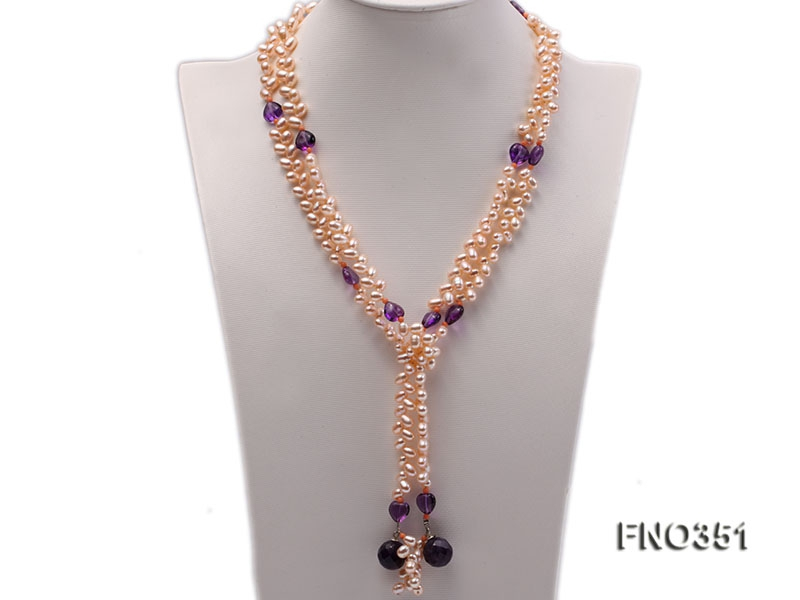 6*9mm natural pink side-drilled freshwater pearl with amethyst opera necklace