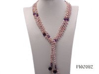 6x7mm purple rice shape freshwater pearl and amethyst necklace
