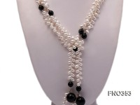 6x10mm white rice shape pearl and faceted black round faceted agate necklace