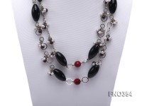 5-6mm round freshwater pearl with garnet and black agate necklace